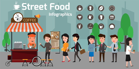 Vector of street food coffee cart/shop and espresso machine with many customer. Coffee icons vector illustration.
