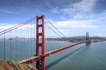 Golden Gate Bridge and San Francisco downtown in the sunny day