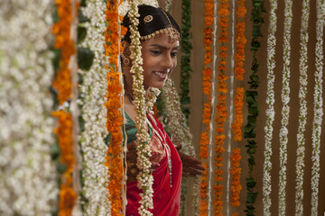 An attractive bride smiling