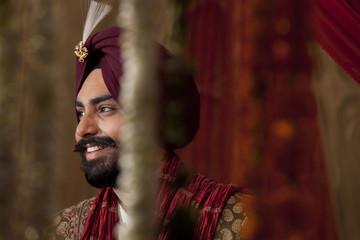 Portrait of Sikh groom