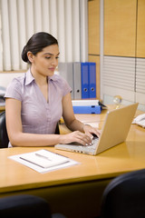 Female executive working on a laptop
