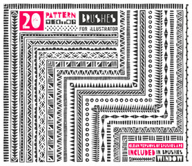 Set of 20 pattern brushes for Illustrator. Seamless borders collection in tribal style includes clean versions of brushes without grunge effect. EPS 10 vector illustration.