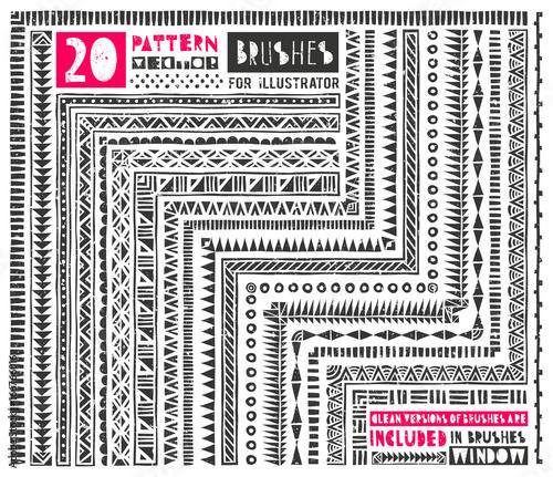 Set of 20 pattern brushes for Illustrator  Seamless borders