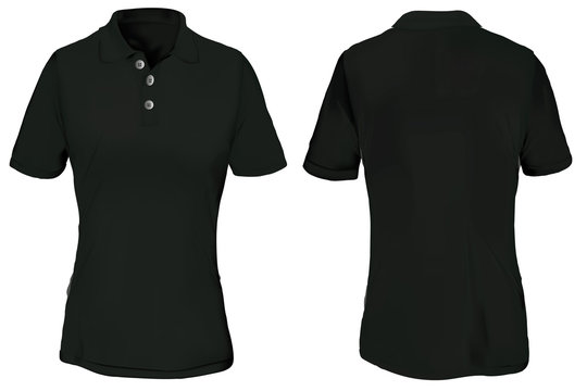 Black Polo Shirt Template for Woman
