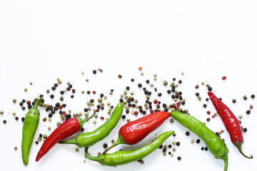 Food background, red and green chili pepper on white background