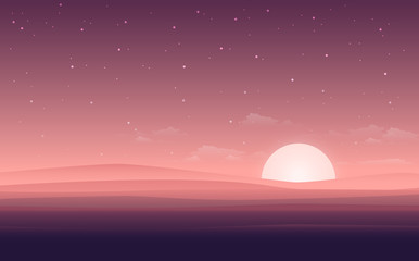 Vector modern flat landscape view with the night of desert. Illustration with the sunset view in the desert. or the website background