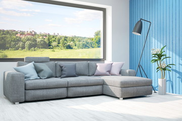 Inspiration of white room with sofa and summer landscape in window. Scandinavian interior design. 3D illustration