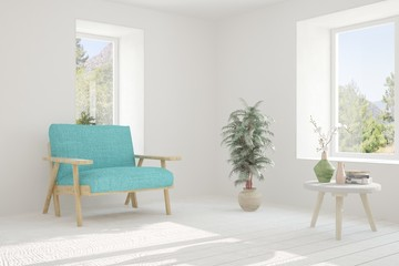 Idea of white room with armchair and green landscape in window. Scandinavian interior design. 3D illustration