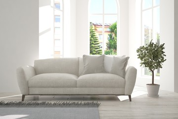 White minimalist room with sofa. Scandinavian interior design. 3D illustration
