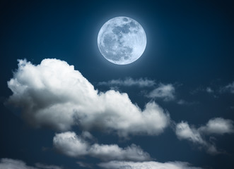 Landscape of night sky with beautiful full moon, serenity nature background.