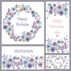 Set of cute greeting card with butterflies and hearts for birthday, wedding, congratulation, invitation.