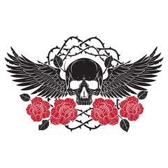 Winged skull and roses