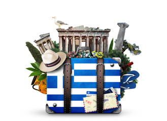 Canvas Prints Athens Greece, vintage suitcase with Greece landmarks