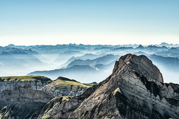 Mountain view from Mount Saentis, Switzerland , Swiss Alps. Wall mural