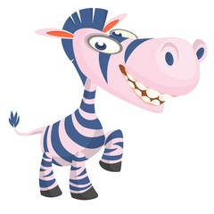 Cute cartoon zebra. Vector character illustration for chlidren book.