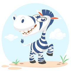 Cute cartoon zebra character. Wild  animal collection. Baby education. Isolated vector illustration
