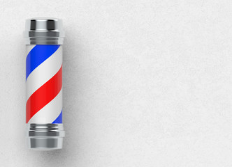 3d rendering. barber pole on white cement wall background