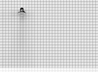 3d rendering. a shower head on the white tiles wall background