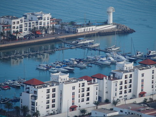 Yacht port and white housing estate at travel AGADIR city in MOROCCO