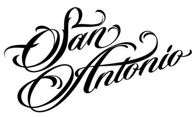 San Antonio lettering in tattoo style