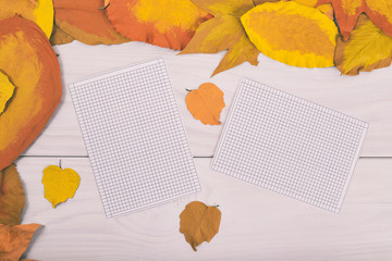 Empty white papers on wooden table with painted leaves.
