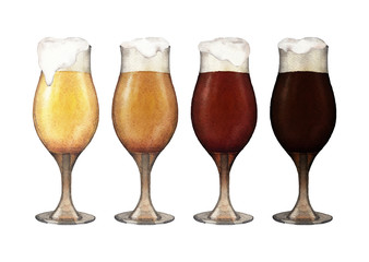 Watercolor glasses of beer