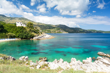 view on amazing Ionian sea from Corfu island, Greece
