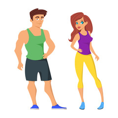 cartoon illustration of sporty man and woman.