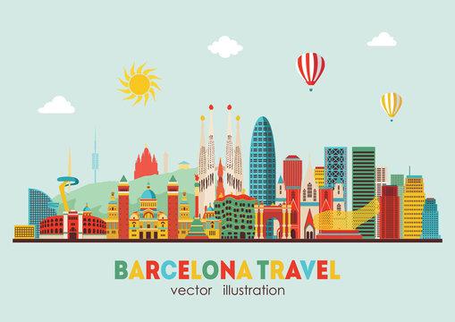 Barcelona skyline detailed silhouette. Vector illustration - stock vector