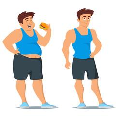 fat and slim man in sport wear.