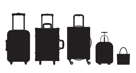 Black and white different types of luggage. Flat design. Vector.