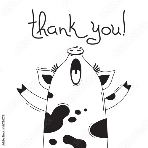 illustration with joyful piggy who says thank you for design of