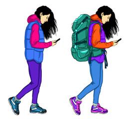 Traveler woman using mobile phone