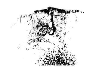 Vector image of nature rock, stones, plants.
