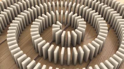 3d render domino effect