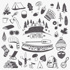 Handwritten Black and White Drawings of Camping Trip Items, Accessories and Symbols
