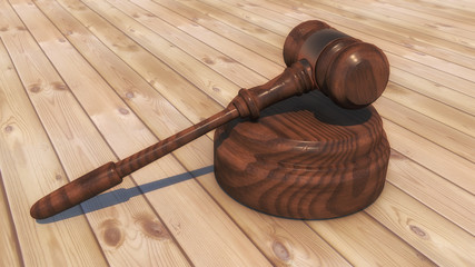 3d render. Judge's gavel and parquet flooring