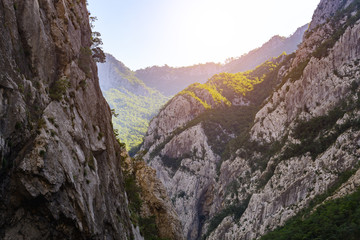 The huge and deep canyon of Moraca, Montenegro