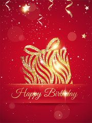 Happy birthday elegant red card with gift, confetti and gold sparkles.Birthday gold greeting card. Vector illustration