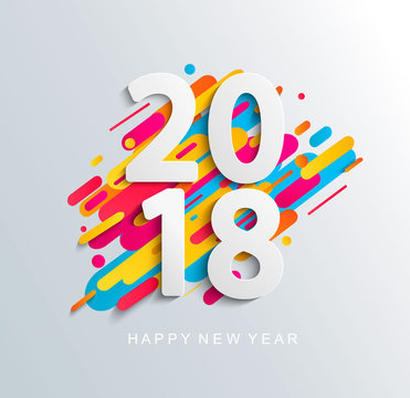 New Year 2018 design card on modern background.