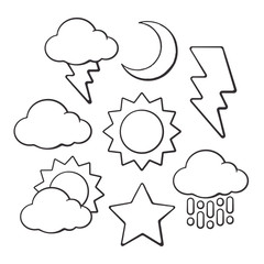 Hand drawn doodles of weather symbols. Vector illustration set. Sketch of sun and crescent, star, cloud, rain and lightning. Isolated on white background.