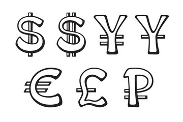 Sign of American dollar, European euro, Japanese yen and Chinese yuan, Russian ruble and British pound. Vector illustration set. Doodles silhouettes signs of world currencies