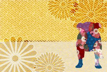 戌 菊 年賀状 背景
