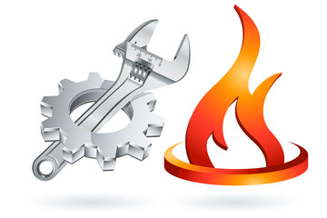 Wall Mural - Icon Symbol Logo - Zahnrad Rollgabelschluessel Gas Flamme.zip