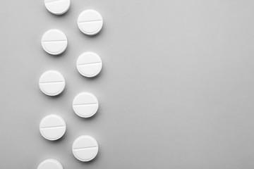 Fotobehang Health care concept. Pills on grey background