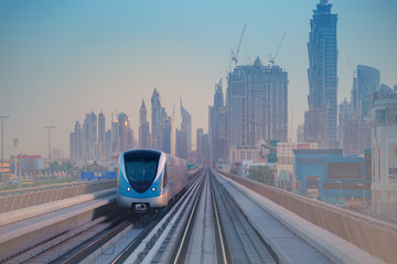 Dubai metro in morning light