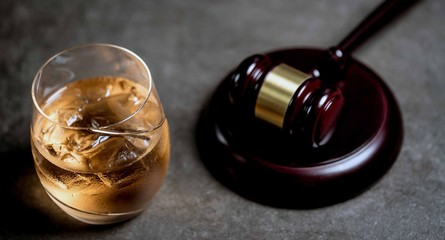 Judge's Gavel and glass of whysky