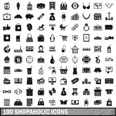 100 shopaholic icons set, simple style