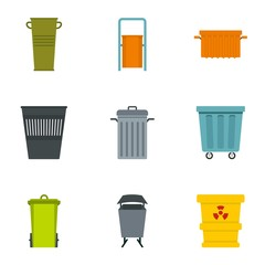 Garbage container icon set, flat style