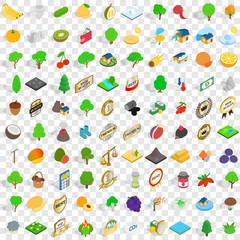 100 agriculture icons set, isometric 3d style